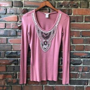 Cache Bead Embellished Long Sleeve Blouse Size XS
